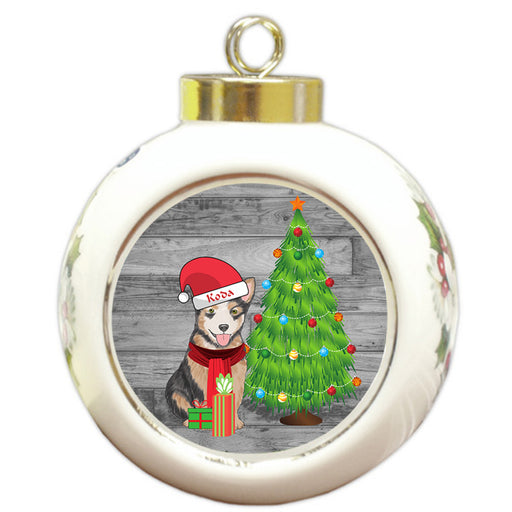 Custom Personalized Australian Cattle Dog With Tree and Presents Christmas Round Ball Ornament