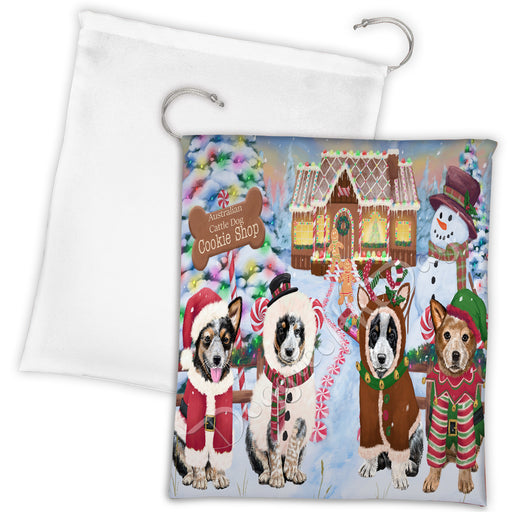 Holiday Gingerbread Cookie Australian Cattle Dogs Shop Drawstring Laundry or Gift Bag LGB48562