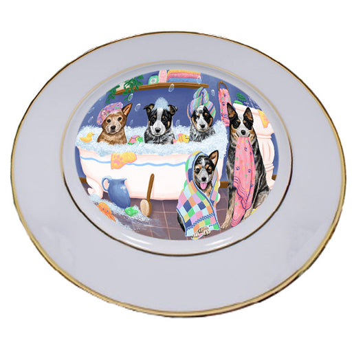 Rub A Dub Dogs In A Tub Australian Cattle Dogs Porcelain Plate PLT55104