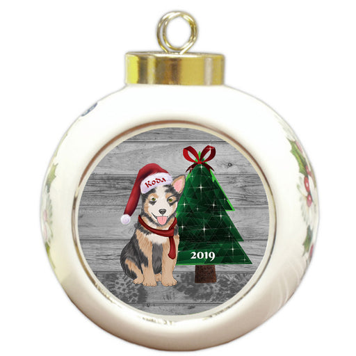 Custom Personalized Australian Cattle Dog Glassy Classy Christmas Round Ball Ornament