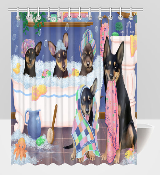 Rub A Dub Dogs In A Tub Australian Kelpies Dogs Shower Curtain