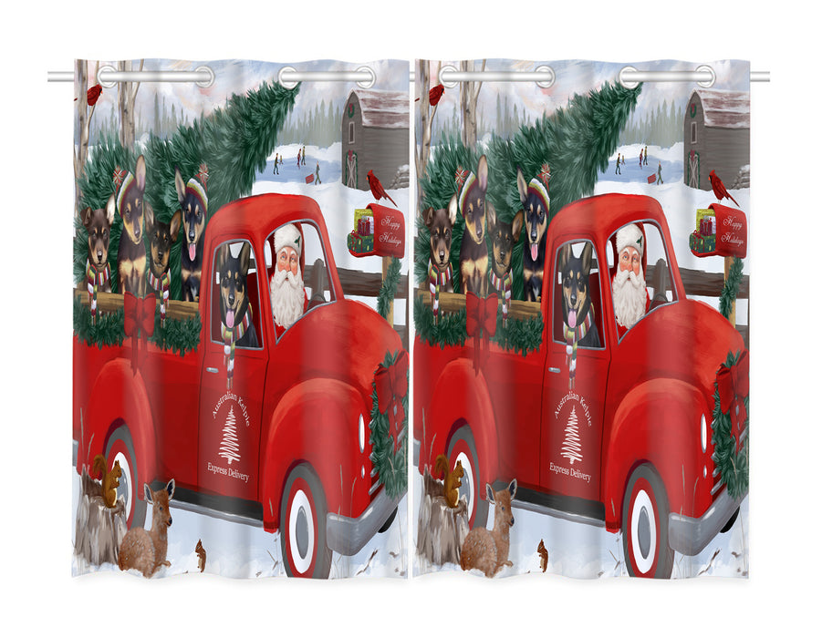 Christmas Santa Express Delivery Red Truck Australian Kelpies Dogs Window Curtain