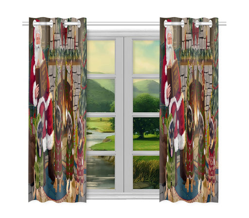 Christmas Cozy Holiday Fire Tails Australian Kelpies Dogs Window Curtain