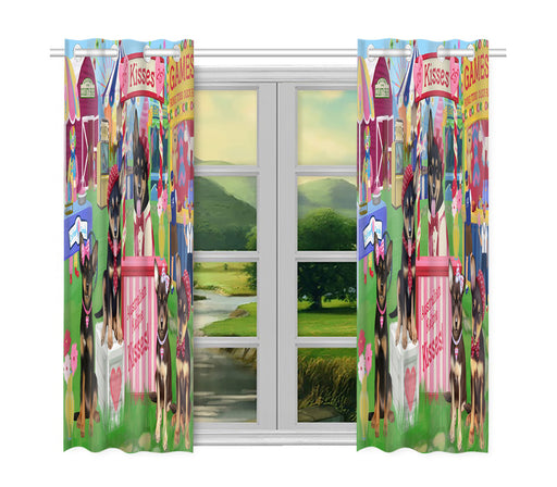 Carnival Kissing Booth Australian Kelpie Dogs Window Curtain