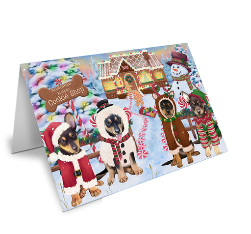 Holiday Gingerbread Cookie Shop Australian Kelpies Dog Note Card NCD72809