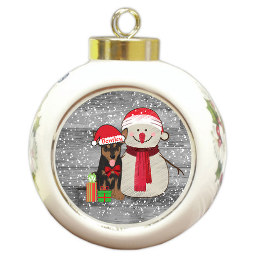 Custom Personalized Snowy Snowman and Australian Kelpie Dog Christmas Round Ball Ornament