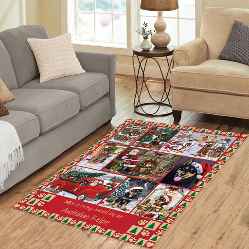 Love is Being Owned Christmas Australian Kelpie Dogs Area Rug