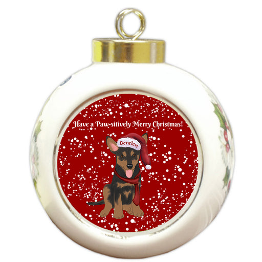 Custom Personalized Pawsitively Australian Kelpie Dog Merry Christmas Round Ball Ornament