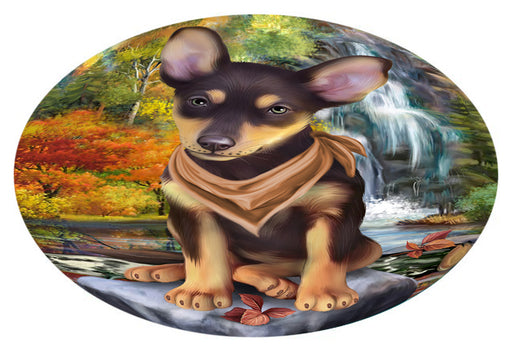 Scenic Waterfall Australian Kelpie Dog Oval Envelope Seals OVE63236