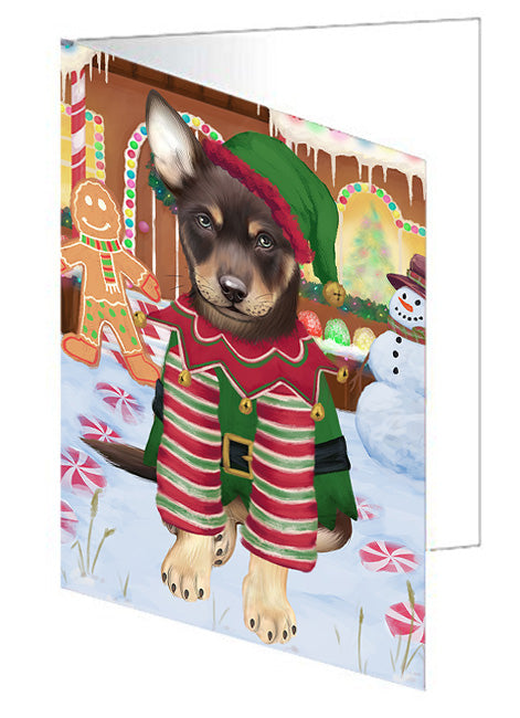 Christmas Gingerbread House Candyfest Australian Kelpie Dog Note Card NCD72968