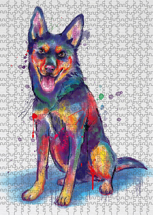 Watercolor Australian Kelpie Dog Puzzle with Photo Tin PUZL97084