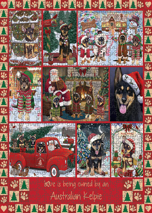 Love is Being Owned Christmas Australian Kelpie Dogs Puzzle with Photo Tin PUZL99248