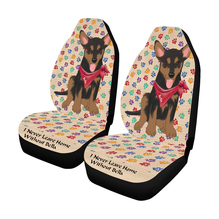 Personalized I Never Leave Home Paw Print Australian Kelpie Dogs Pet Front Car Seat Cover (Set of 2)