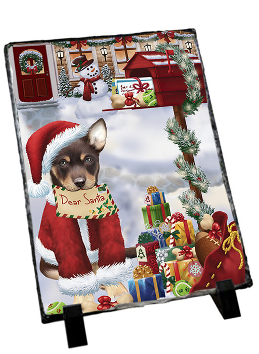Australian Kelpie Dog Dear Santa Letter Christmas Holiday Mailbox Sitting Photo Slate SLT57487