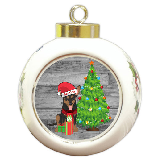 Custom Personalized Australian Kelpie Dog With Tree and Presents Christmas Round Ball Ornament