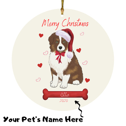 Personalized Merry Christmas  Australian Shepherd Dog Christmas Tree Round Flat Ornament RBPOR58902