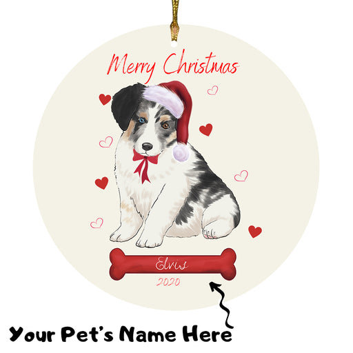 Personalized Merry Christmas  Australian Shepherd Dog Christmas Tree Round Flat Ornament RBPOR58903