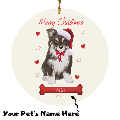 Personalized Merry Christmas  Australian Shepherd Dog Christmas Tree Round Flat Ornament RBPOR58904