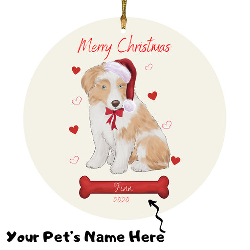 Personalized Merry Christmas  Australian Shepherd Dog Christmas Tree Round Flat Ornament RBPOR58905