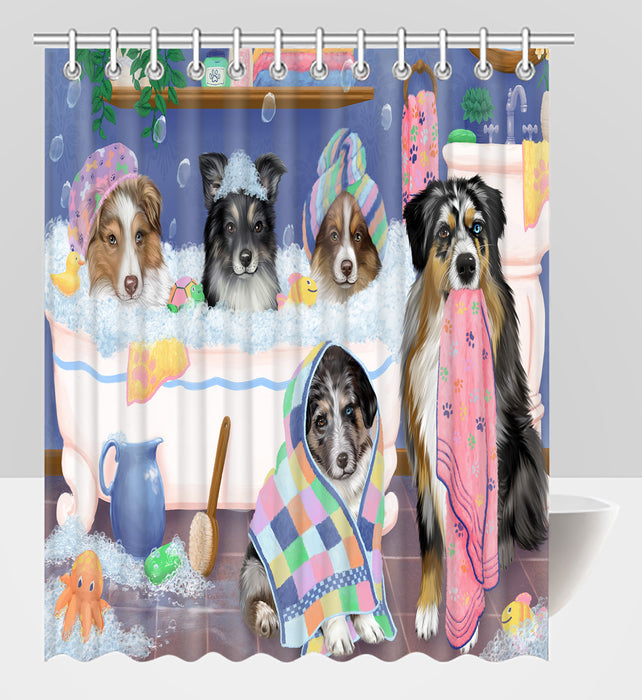 Rub A Dub Dogs In A Tub Australian Shepherd Dogs Shower Curtain