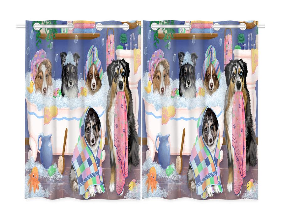 Rub A Dub Dogs In A Tub Australian Shepherd Dogs Window Curtain
