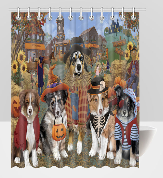 Halloween 'Round Town Australian Shepherd Dogs Shower Curtain