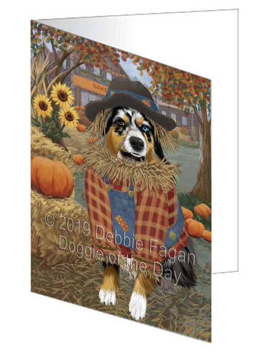Fall Pumpkin Scarecrow Australian Shepherd Dog Greeting Card GCD77924
