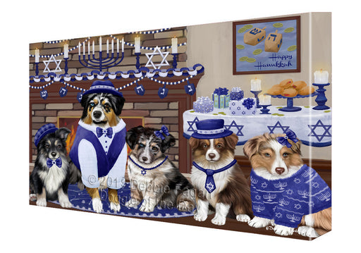 Happy Hanukkah Family and Happy Hanukkah Both Australian Shepherd Dogs Canvas Print Wall Art Décor CVS140876
