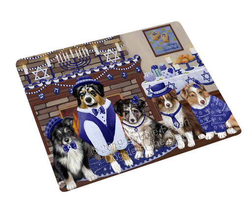 "Happy Hanukkah Family and Happy Hanukkah Both Australian Shepherd Dogs Magnet MAG77560 (Mini 3.5"" x 2"")"