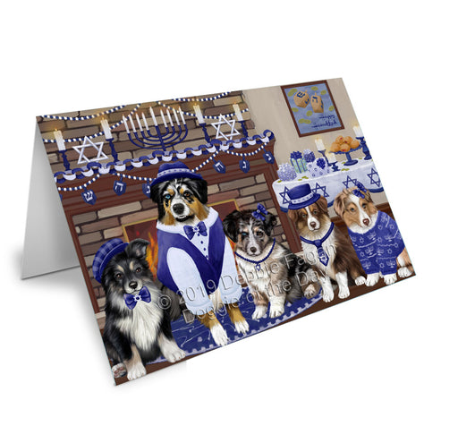 Happy Hanukkah Family Australian Shepherd Dogs Greeting Card GCD78107
