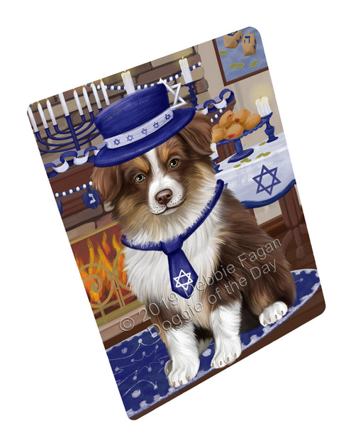 "Happy Hanukkah Family and Happy Hanukkah Both Australian Shepherd Dog Magnet MAG77392 (Mini 3.5"" x 2"")"