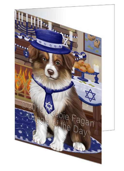 Happy Hanukkah Australian Shepherd Dog Greeting Card GCD78275
