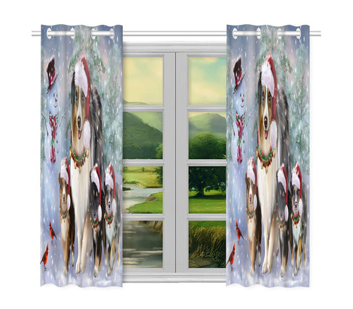 Christmas Running Fammily Australian Shepherd Dogs Window Curtain
