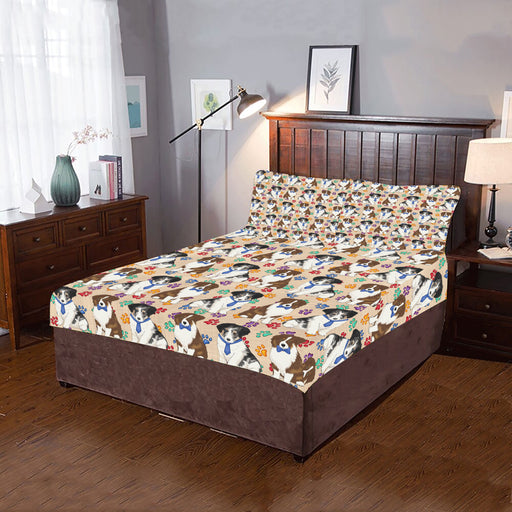 Rainbow Paw Print Australian Shepherd Dogs Blue 3-Piece Bedding Set