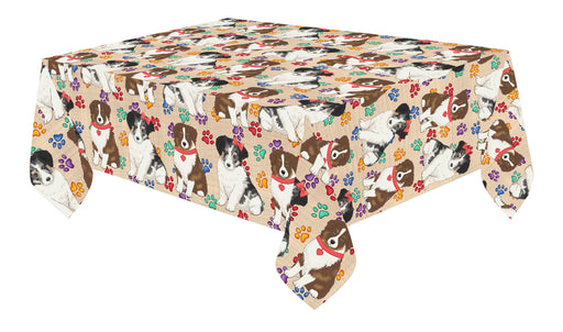 Rainbow Paw Print Australian Shepherd Dogs Red Cotton Linen Tablecloth