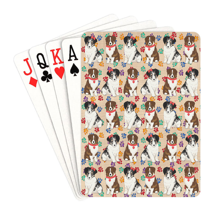 Rainbow Paw Print Australian Shepherd Dogs Red Playing Card Decks