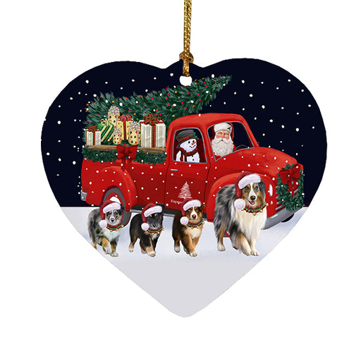 Christmas Express Delivery Red Truck Running Australian Shepherd Dogs Heart Christmas Ornament RFPOR58064