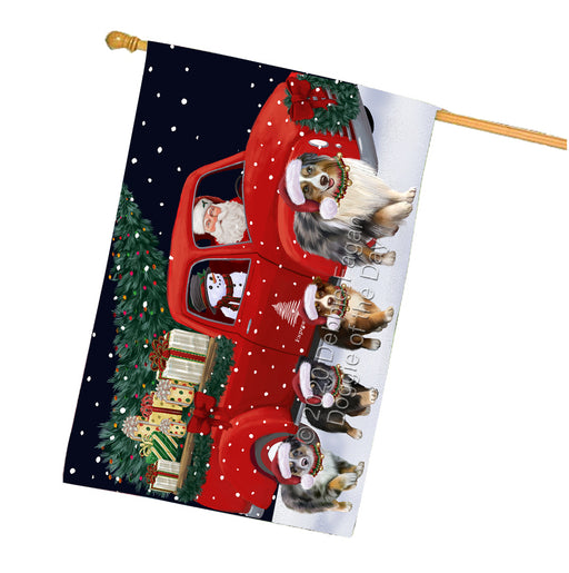 Christmas Express Delivery Red Truck Running Australian Shepherd Dogs House Flag FLG66493