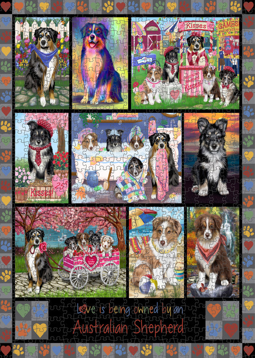 Love is Being Owned Australian Shepherd Dog Grey Puzzle with Photo Tin PUZL98216
