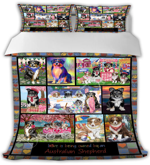 Love is Being Owned Australian Shepherd Dogs Grey Bed Duvet Cover DVTCVR50114