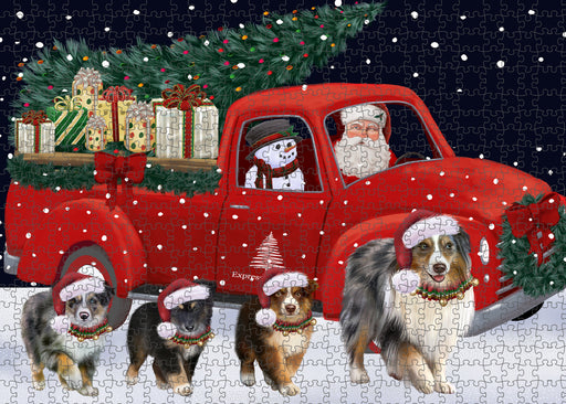 Christmas Express Delivery Red Truck Running Australian Shepherd Dogs Puzzle with Photo Tin PUZL99588