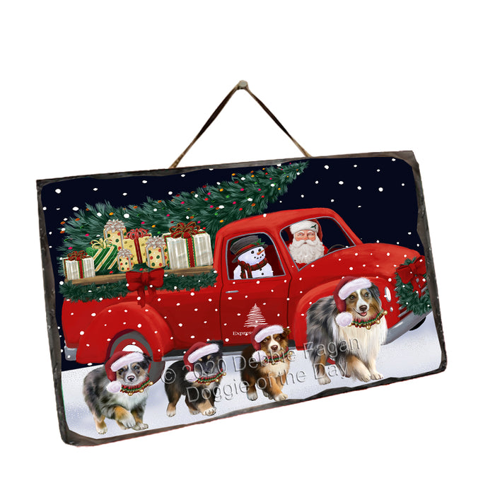 Christmas Express Delivery Red Truck Running Australian Shepherd Dogs Wall Décor Hanging Photo Slate SLTH58132
