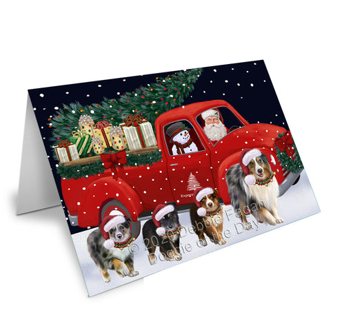 Christmas Express Delivery Red Truck Running Australian Shepherd Dogs Greeting Card GCD75053