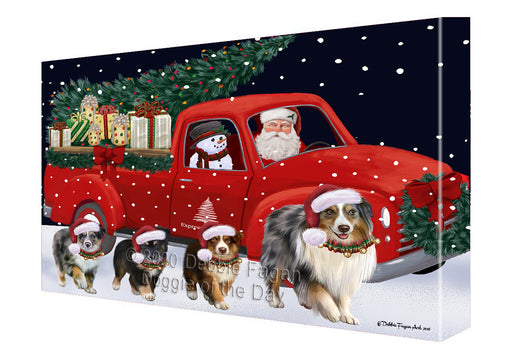 Christmas Express Delivery Red Truck Running Australian Shepherd Dogs Canvas Print Wall Art Décor CVS145835