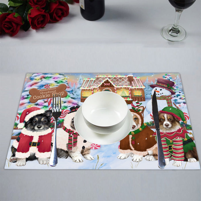 Holiday Gingerbread Cookie Australian Shepherd Dogs Placemat