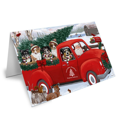 Christmas Santa Express Delivery Australian Shepherds Dog Family Note Card NCD68843