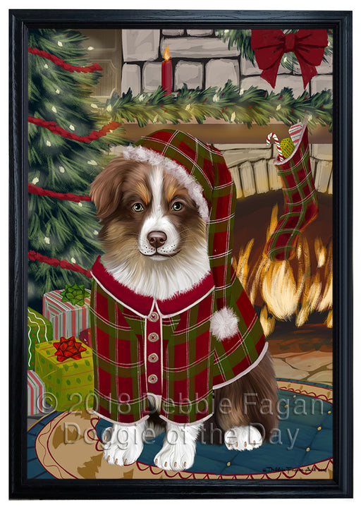 The Stocking was Hung Australian Shepherd Dog Framed Canvas Print Wall Art FCVS175109