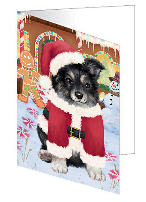 Christmas Gingerbread House Candyfest Australian Shepherd Dog Note Card NCD72974