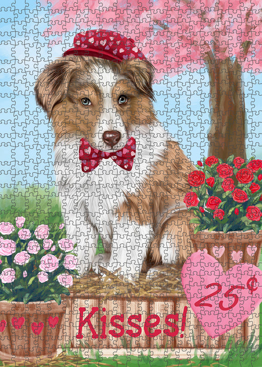 Rosie 25 Cent Kisses Australian Shepherd Dog Puzzle with Photo Tin PUZL91248
