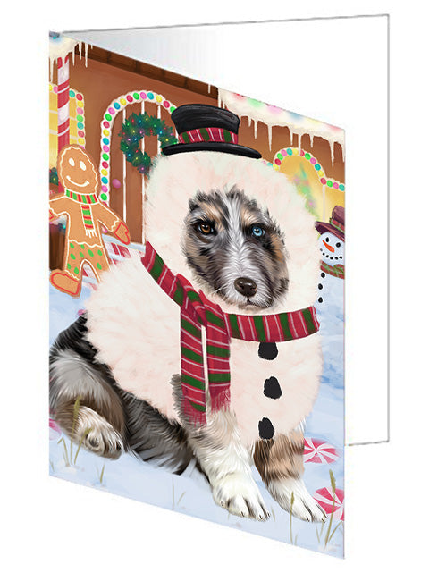 Christmas Gingerbread House Candyfest Australian Shepherd Dog Note Card NCD72977
